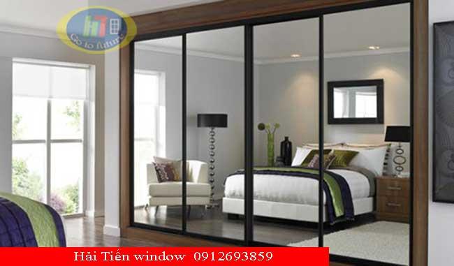 Cửa nhôm và vách nhôm kính Việt Pháp màu ghi cho phòng ngủ
