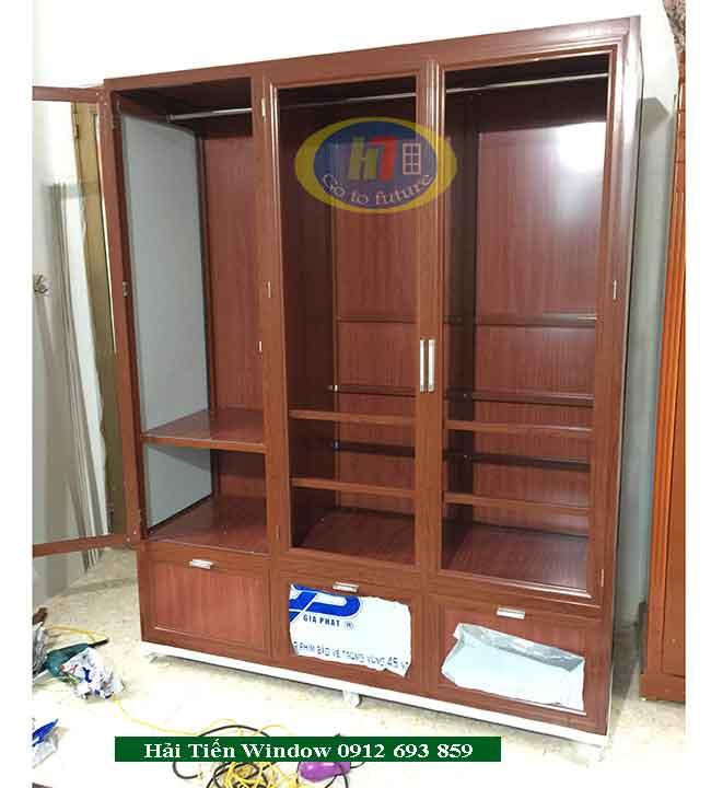 Tủ nhôm kính vân gỗ đựng quần áo đẹp tại Hà Nội
