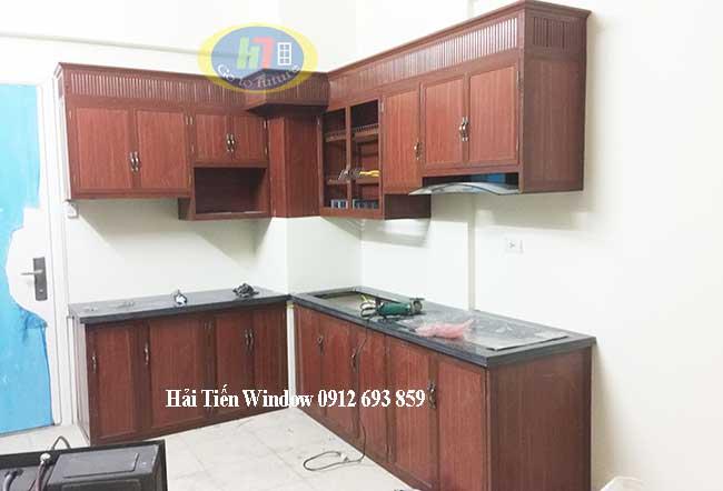 Tủ bếp nhôm giả gỗ thi công tại Khu Đô Thị Thanh Hà Hà Nội