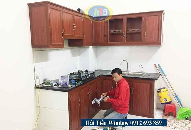 Tủ bếp nhôm vân gỗ đẹp tại Hà Đông