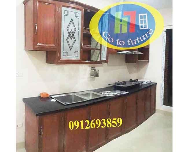 Tủ bếp nhôm vân gỗ thi công nhà chú Thạch Phú Lãm