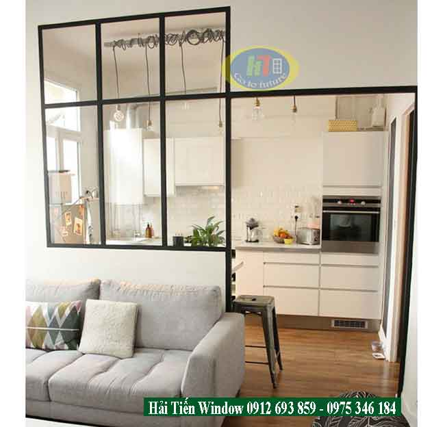Vách ngăn kính khung nhôm đẹp cho nhà bếp