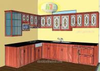 Bản vẽ 3D tủ bếp nhôm kính giả gỗ cao cấp tại Hòang Quốc VIệt, Hà Nội