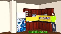 Tủ bếp nhôm vân gỗ, tủ nhôm kính Cầu Giấy HN giá rẻ