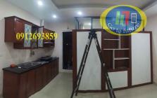 Tủ bếp nhôm Vân Gỗ, tủ nhôm kính giả vân gỗ giá rẻ tại Hà Nội