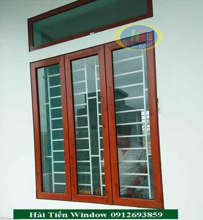 Cửa sổ nhôm Việt Pháp màu giả gỗ sang trọng
