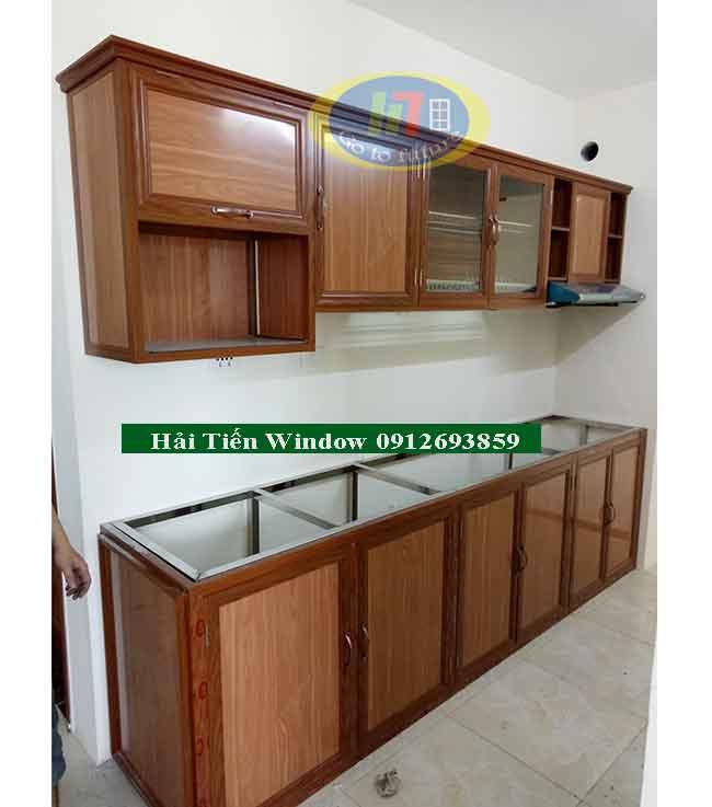 Lắp tủ bếp nhôm vân gỗ tại Hà Nội
